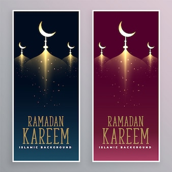 Vertical ramadan kareem banners in two colors