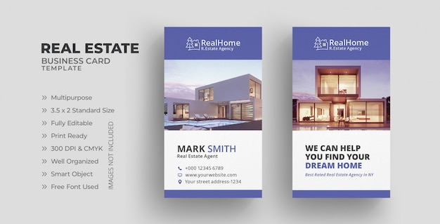 Vertical real estate business card template