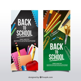 Vertical realistic back to school banners
