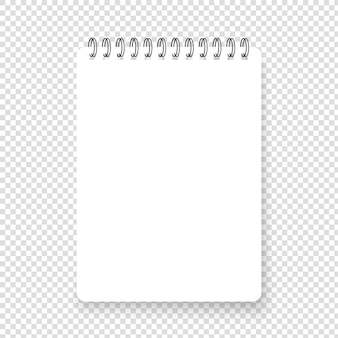 Vertical realistic spiral notepad with shadow. clean realistic note sqarred page. blank vector notebook on transparent background. top view.
