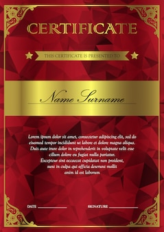 Vertical red and gold certificate and diploma template with vintage, floral, filigree and cute pattern for winner for achievement. blank of award coupon. vector