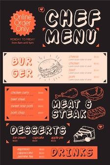 Modello di menu ristorante verticale con illustrazione