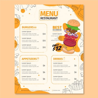 Vertical restaurant menu template