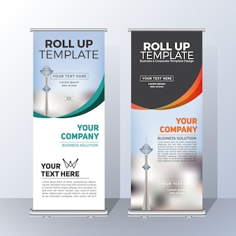 발표 및 광고를위한 수직 롤업 배너 템플릿 디자인 프리미엄 벡터