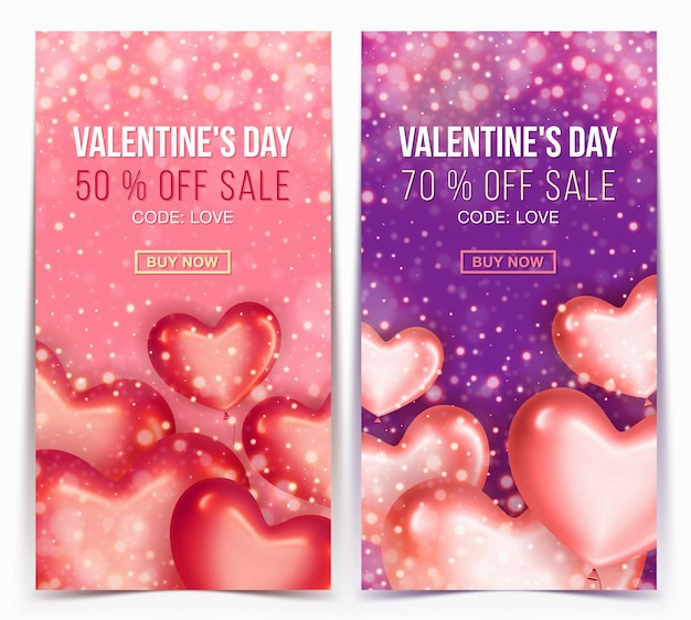 Vertical sale banner with discount offer for happy valentine's day celebration