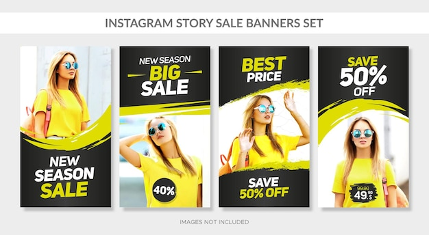 Vertical sale banners set with abstract frames for web and instagram story