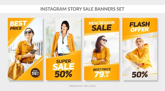 Vertical sale banners set with abstract frames for web and instagram story Premium Vector