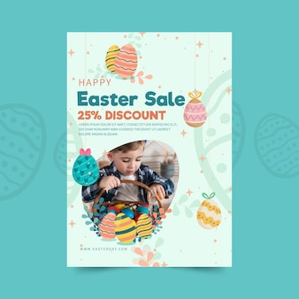 Modello di volantino di vendita verticale per pasqua con uova e bambino