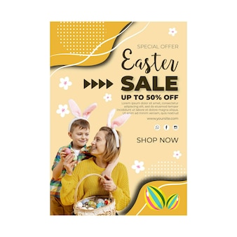 Vertical sale flyer template for easter with eggs and family