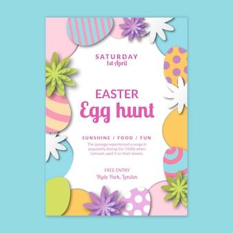 Modello di poster di vendita verticale per pasqua con uova e fiori