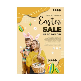 Vertical sale poster template for easter with mother and son