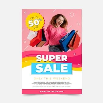 Modello di poster di vendita verticale con foto