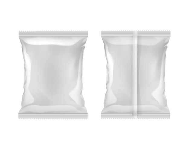 Vertical sealed empty plastic foil bag for package design serrated edges back