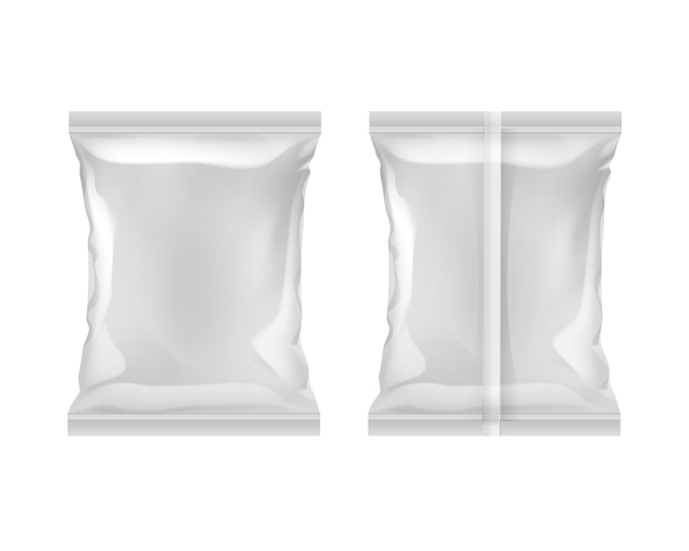 Vertical sealed empty plastic foil bag for package design with smooth edges back