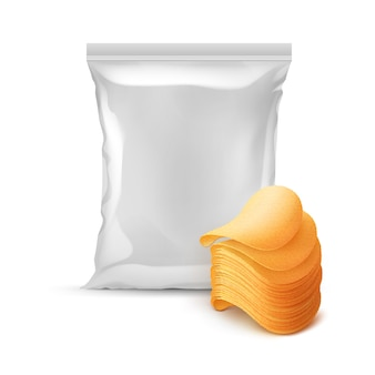 Vertical sealed foil plastic bag for package design with stack of potato crispy chips close up isolated on white background