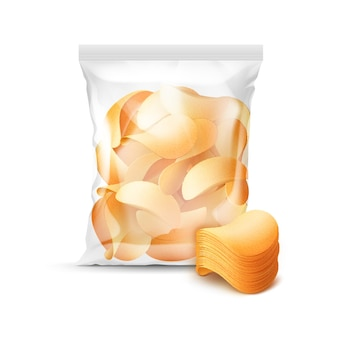 Vertical sealed transparent plastic bag for package design full of potato crispy chips close up isolated on background