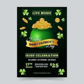 Vertical st. patrick's day flyer template