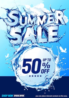 Vertical summer sale water wave