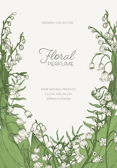Vertical template with blossoming lily of the valley flowers or flowering plants and place for text. decorative floral backdrop