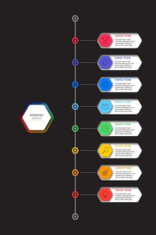 Vertical timeline infographic template with eight multicolor hexagonal elements on black background