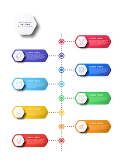 Vertical timeline infographic with hexagonal elements on white background. modern business process visualisation with marketing line icons. illustration template easy to edit and customize