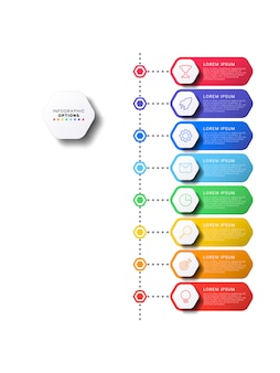 Vertical timeline infographic with hexagonal elements on white
