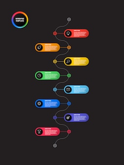 Vertical timeline infographic with round elements on black