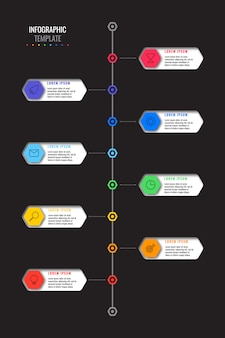 Vertical timeline template with eight realistic hexagonal elements with thin line icons on black background.