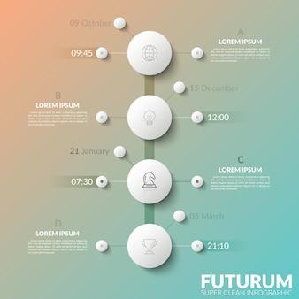 4 개의 흰색 원형 요소, 날짜 및 시간 표시,가는 선 아이콘 및 텍스트 상자가있는 세로 타임 라인. 효과적인 계획을위한 트리 차트의 개념입니다.