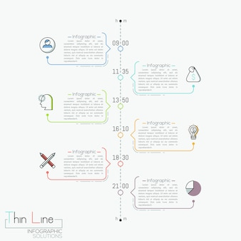 Vertical timeline with time indication, pictograms and text boxes