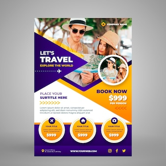 Vertical travel flyer template with photo