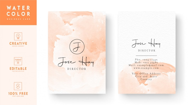 Vertical watercolor business card  - pink color artistic business card template