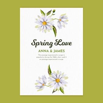 Modello di biglietto di auguri dell'acquerello verticale per la primavera con i fiori