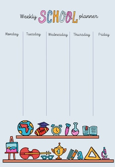 Vertical weekly planner template. organizer and schedule with place for notes.