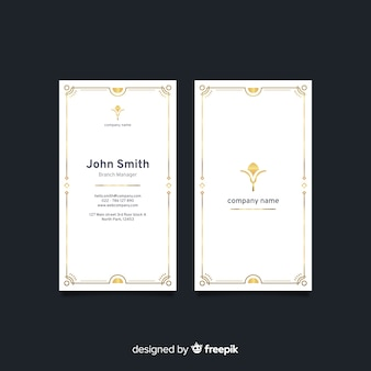 Vertical white elegant business card