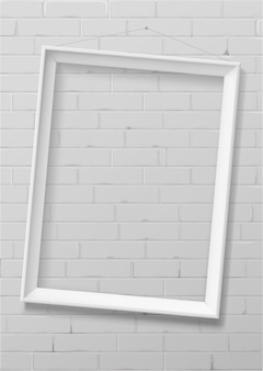 Vertical white empty frame from wood