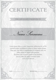 Vertical white silver certificate and diploma template. blank of award coupon.