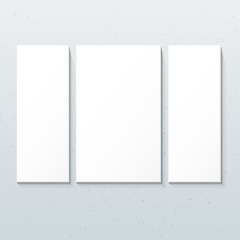 Vertical white triptych posters