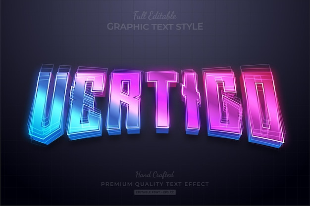 Vertigo gradient editable text effect font style