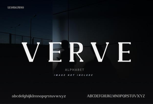 「verve」エレガントなアルファベットのフォントと数字。タイポグラフィフォントは通常大文字と小文字です。