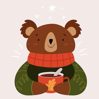 A very cute bear with a warm red scarf and a large cup of cocoa.