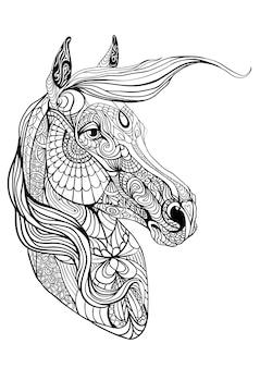 Очень сложная раскраска с лошадью. медитация