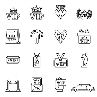 Very important person, vip customer icons set with. line style stock