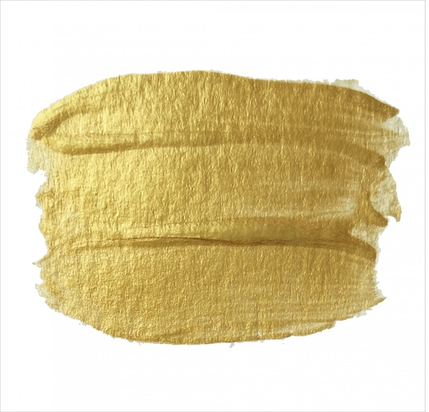 Very nice golden strokes of acrylic paint on a white background.  .