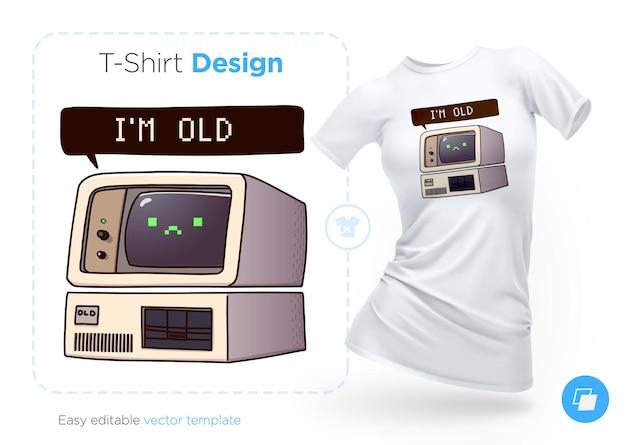 非常に古いコンピューターのtシャツのデザイン。洋服、ポスター、お土産にプリント。図