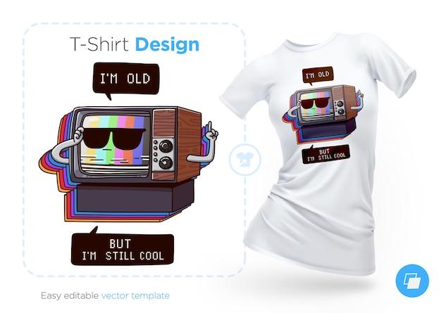 Очень старый дизайн футболки под телевизор. печать на одежду, плакаты или сувениры. векторная иллюстрация