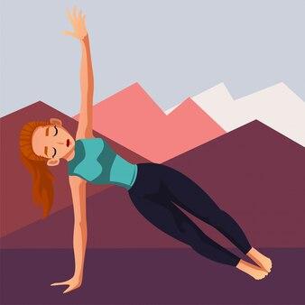 Very passionate yoga trainer meditating and doing yoga pose illustration