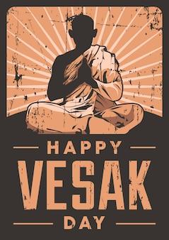 День весака буддийский вывеска плакат ретро деревенский вектор