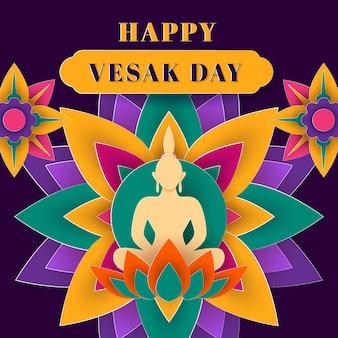 Illustrazione di giorno di vesak in stile carta