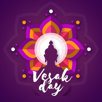 Vesak day illustrationin paper style